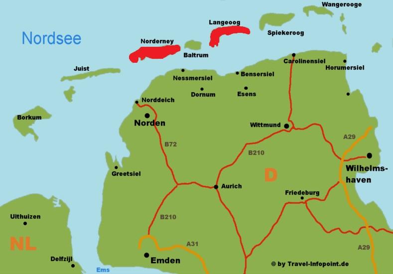Norddeutschland Nordsee Langeoog Norderney Karten Infos